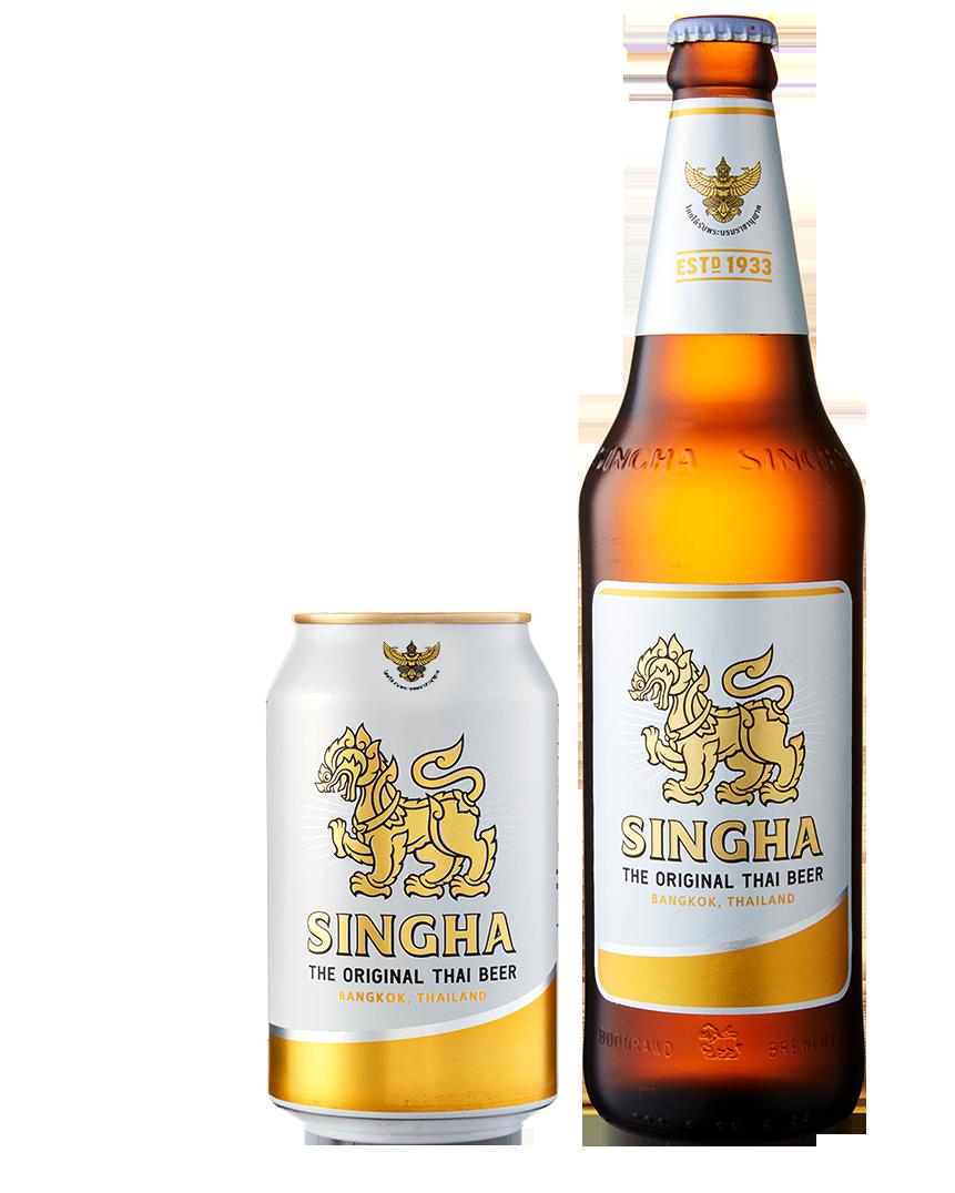 Singha Beer Ingredients Can and Singha Beer Ingredients Bottle