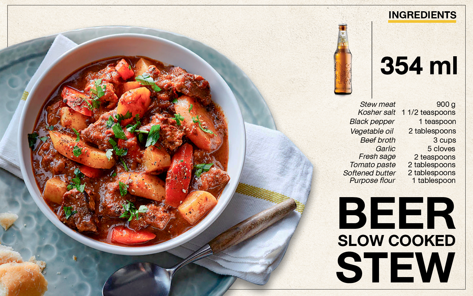 Beer Slow Cooked Stew Recipe